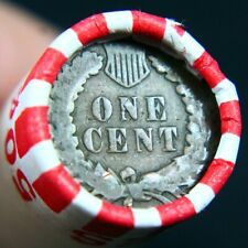 Indian Head Penny Reverse Showing On End Of 50 Coin Wheat Cent Shotgun Roll #A4