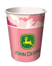 8 - John Deere Pink Camo Farm Tractor Happy Birthday Party 9oz Paper Cups