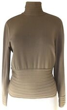 Max Mara Sweater Turtle Neck Beige Tan Button Wool Long Sleeve Italy Pullover S
