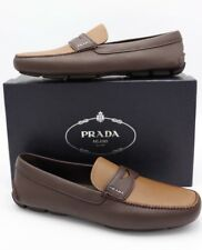 NIB Prada Brown Bicolor Saffiano Leather Penny Drivers Loafers Shoes 13 New