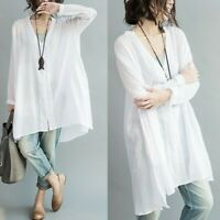 Womens Linen Sheer Loose Shirt Longline V Neck Blouse Top Long Sleeve Boho White