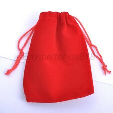 2 Pcs Red VELVET Jewellery Drawstring Gift Bag POUCHES Wedding Favors 7cmx9cm