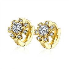 18 k Gold Plated Flower Zircon Gift Women Girl Small Hoops First Earrings E1023