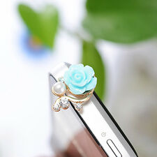 2PCS Blue Rose Flower 3.5mm Headphone Jack Dust Plug For Samsung iPhone Xiaomi