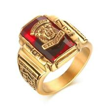 Men Gold Plated Stainless Steel Rhinestone 1973 Walton Tigers Signet Band Ring