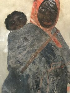 Rare 19th Century  African American Folk Art Oil Painting on Canvas