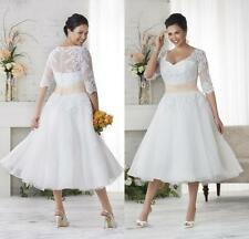 9b234da6a7 Plus Size Short Tea Length White Wedding Dresses 3 4 Sleeve Lace Bridal  Gowns