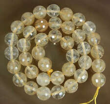Faceted 8/10mm Yellow Watermelon Tourmaline Gemstone Round Loose Bead 15''