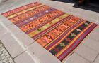 67″ x 121″  Hand-Made Braided OUSHAK Rug Kilim Shabby Chic AnatoliaN Area Rug
