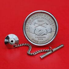 2004 Jefferson Nickel 5 Cent BU Unc Coin Silver Plated Tie Tack NEW - Handshake