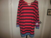 Womens Chic Comfort Collection Long Sleeve Shirt size 3X Red Striped (B102)