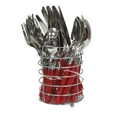 SQ Professional Round Stainless Steel Cutlery Set 24Pcs, Red Color