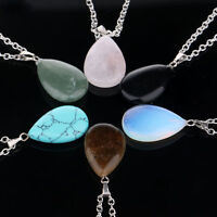 Natural Crystal Quartz Gem Stone Chakra Point Healing Waterdrop Pendant Necklace
