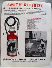 D.B. SMITH & COMPANY COMPRESSED AIR SPRAYERS ADVERTISING PAGE FLYER 1963 VINTAGE
