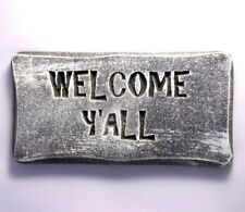 "Welcome Y'all plaque mold for plaster concrete casting 11"" x 5.5"" x 3/4"" thick"
