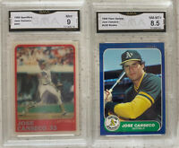 1986 Fleer Update #U-20 Jose Canseco RC ROOKIE A's GMA 9 MINT 8.5 (LOT OF 2)