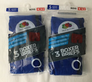 NEW Boys Fruit of the Loom 6 Pack Pair Boxer Brief Underwear Sz M 10-12 (H5)