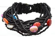 "Boho Black Glass Bead Multi Strand Statement Bracelet 6"" Button Closure Since!"