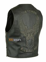 Biker Leather Waistcoat  Mens Classic Black Cowhide Style Eagle Embossed Vest