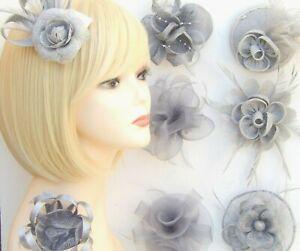 Silver Grey Fascinator Brooch Clip Hair Feather Flower Wedding Ladies Day Races