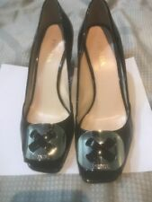 Prada Black Patent Silver Buckle Square Toe Pumps Size 39.5 High heel Shoes