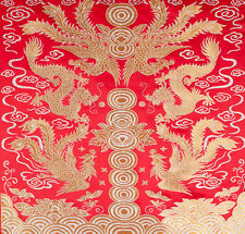 "28"" DAMASK JACQUARD BROCADE TAPESTRY FABRIC: CHINA DRAGON & PHOENIX COULD-NINE!"