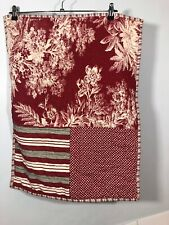 Pottery barn Shams Matine Toile Quilted PAtchwork Red Brown PAIR