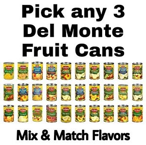 Del Monte Fruit Cans Pick any 3 Flavors: No Sugar Added, Peaches, Pears & More