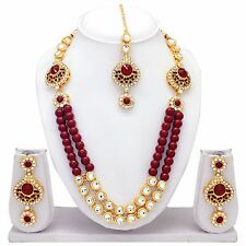 Indian Bollywood Fashion Gold Plated Wedding Necklace Earrings Tikka Jewelry set