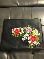 Black Leather Bag Purse Clutch Silver Embroidered Flower Red Yellow Pink Green
