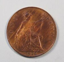 1920 Great Britain One Penny Bronze World Coin King George Trident UK England
