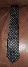 DANIEL DE FASSON STUDIO Mens 100% Silk Necktie HandMade Geometric Black/Blue EUC