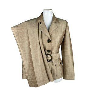 KASPER Women 2PC Brown Single Breasted Polyester Lined Belted Pant Suit Size 6P