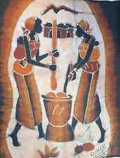Unframed Brown Tones Handmade Batik: Cooperative Work ~ Burkina Faso