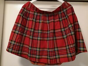 Adult School Girl Red Tartan Mini Skirt Elasticated Waist At The Front Size 20