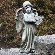 """19"""" Angel Playing Lire Harp Indoor Outdoor Garden Statue Yard Decor 66261"""