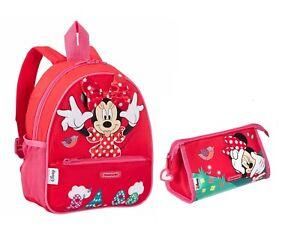 Disney Minnie Mouse Backpack and Wash Bag / Stationery Holder Samsonite Red/Pink