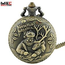 Bronze Xmas Santa Claus Vintage Pocket Watch Quartz Necklace Chain Retro Gift