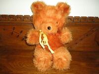 Antique Nickys Toy Canada Tongue Teddy Bear Orange Plush 13 inch