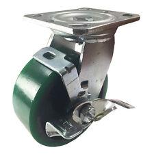 "5"" x 2""  Polyurethane on Cast Iron (Green) - Swivel with Brake"