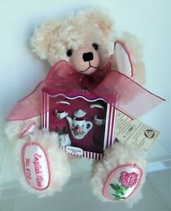 """Hermann 14"""" ENGLISH ROSE Bear with Tea Set, #508/1000, Curly Pink Mohair"""