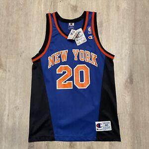 VTG Champion Allan Houston Jersey New York Knicks NEW RARE NBA Size 40 Blue