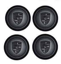 Set de Neuf Authentique Porsche FUCH Fuchs Noir Roue Alliage Centre Métallique Caps
