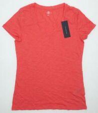 NEW TOMMY HILFIGER Women's Slub V-Neck T-Shirt Tee Coral Medium