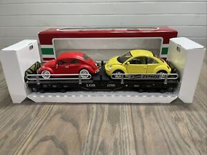 LGB 43590 G Scale Auto Carrier Flatcar Yellow Red Bug Cars  Transport Express