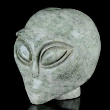 "2.95""Natural Jadeite/Emerald Alien Skull/Head Carving Collectibles 9F55"