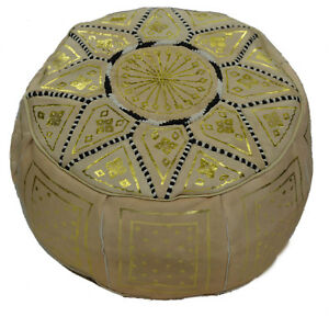 Ottoman Footstool Poof Moroccan Hand Made Leather Poufs Hassock Medium Beige