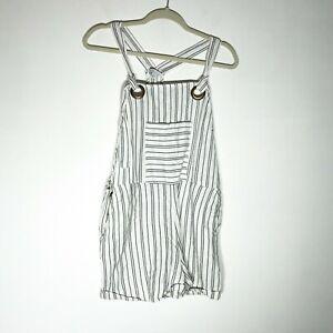 Patrons of Peace Shorts Overalls Womens Medium White Black Cotton Shortall