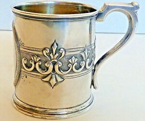 """PETER L. KRIDER COIN SILVER CUP W/ DECORATIVE BAND, ENGRAVED """"JESSIE"""", C. 1850"""