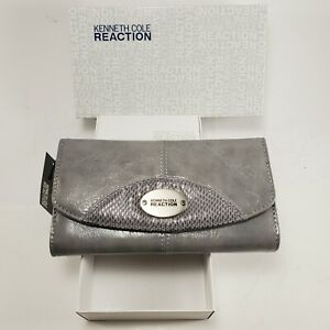 Womens Full Size Folding Wallet Kenneth Cole Reaction Grey zip snap new in box